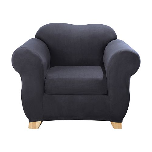 Sure Fit Stretch Suede 2-piece Box Cushion Chair Slipcover