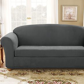 Sure Fit Stretch Suede 2-piece Box Cushion Sofa Slipcover