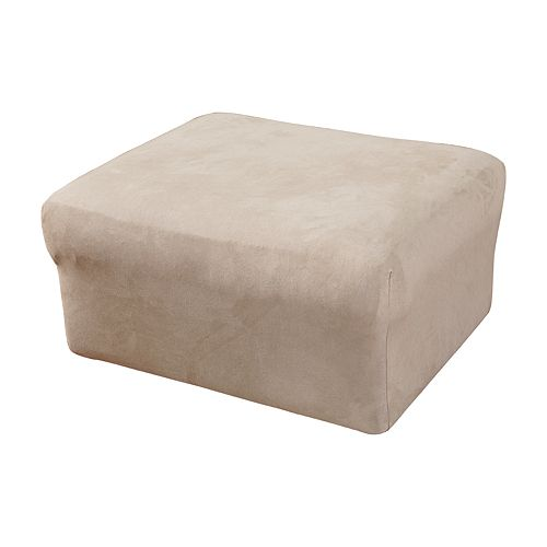 Sure Fit Stretch Suede Oversized Ottoman Slipcover