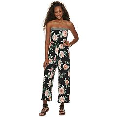 Juniors' Trixxi Strapless Floral Jumpsuit