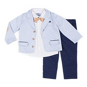 Baby Boy Little Lad 4 Piece Jacket, Shirt, Pants & Bow Tie Set