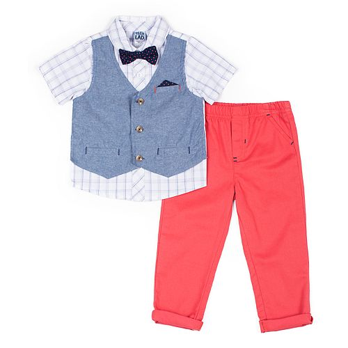 Baby Boy Little Lad 3 Piece Chambray Mock Vest Shirt, Pants & Bow Tie Set