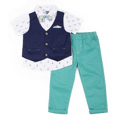 Baby Boy Little Lad 3 Piece Mock Vest Shirt, Pants & Plaid Bow Tie Set