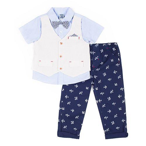Baby Boy Little Lad 3 Piece Mock Vest Shirt, Patterned Plane Pants & Plaid Bow Tie Set