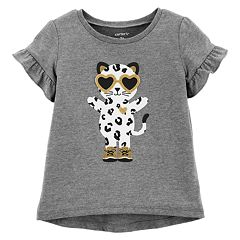Toddler Girl Carter's Ruffle-Sleeve Glittery Graphic Top