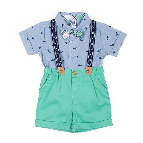 Baby Boy Little Lad 4-Pack Whale Suspender Shorts Set