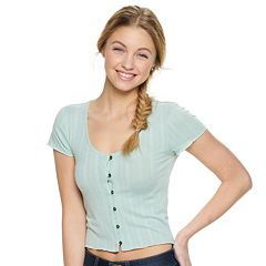 Juniors' Mudd® Short Sleeve Button Front Top