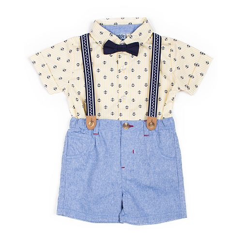 Baby Boy Little Lad 4 Piece Shirt, Chambray Shorts, Suspenders & Bow Tie Set