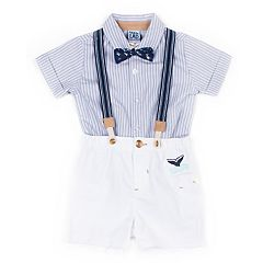 5cfc71687 Baby Boy Little Lad 4 Piece Striped Shirt, Shorts, Suspenders & Bow Tie Set
