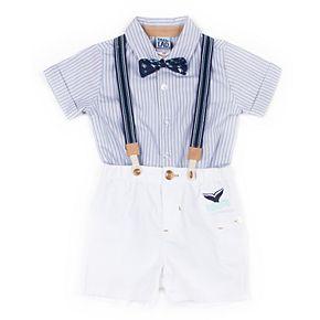 Baby Boy Little Lad 4 Piece Striped Shirt, Shorts, Suspenders & Bow Tie Set