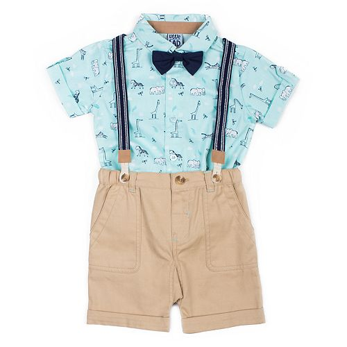Baby Boy Little Lad 4 Piece Wildlife Shirt, Shorts, Striped Suspenders & Bow Tie Set