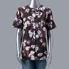 Women's Simply Vera Vera Wang Shirred Ruffle-Sleeve Blouse