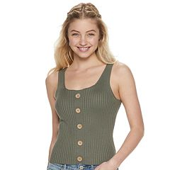 8df673bb Juniors' It's Our Time Ribbed Button-Front Sweater Tank