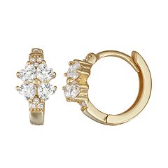 Junior Jewels Kids' 14k Gold Over Silver Cubic Zirconia Four Leaf Clover Hoop Earrings