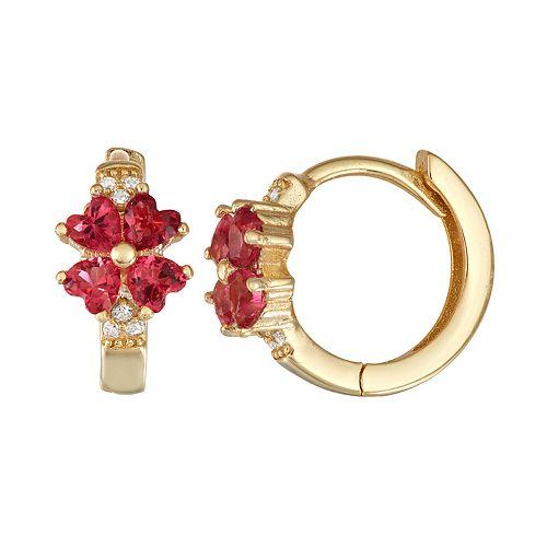 Junior Jewels Kids' 14k Gold Over Silver Cubic Zirconia Four Leaf Clover Hoop Earrings