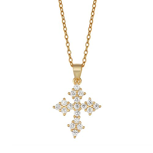 Junior Jewels Kids' Sterling Silver Cubic Zirconia Cross Pendant Necklace