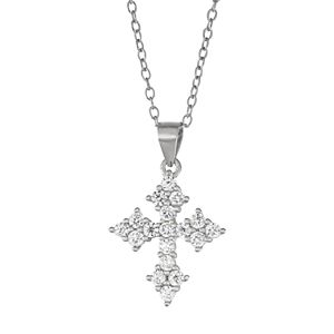 Junior Jewels Kids' Sterling Silver Cubic Zirconia Cross Pendant Necklace