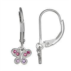 Junior Jewels Kids' Sterling Silver Cubic Zirconia Butterfly Earrings