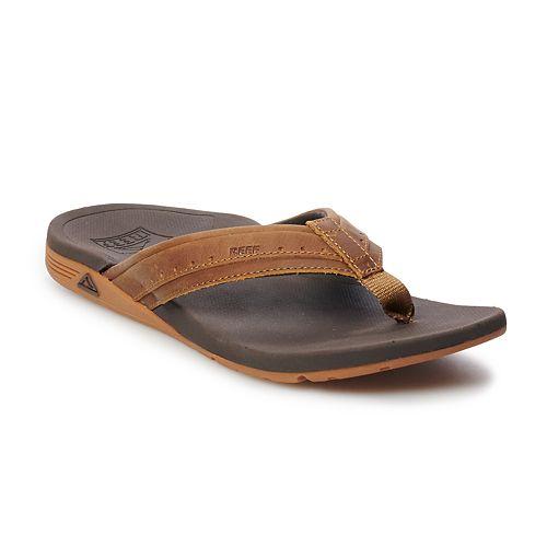 REEF Orthro-Spring Men's Full Grain Leather Flip Flop Sandals