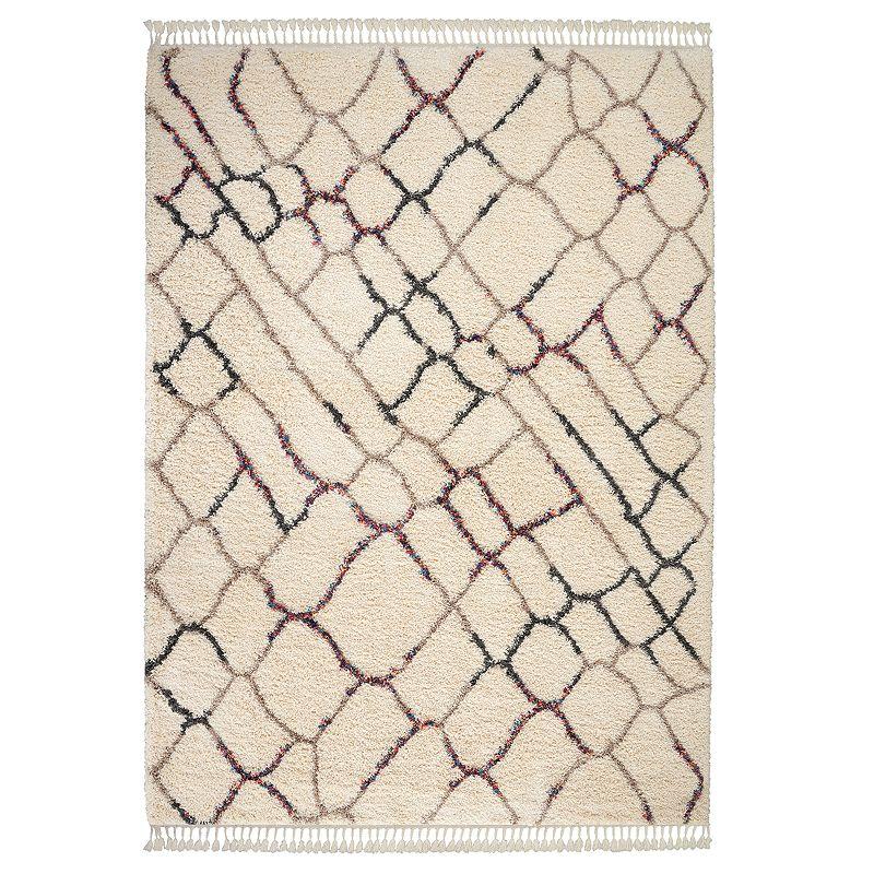 Nourison Nordic Shag Plush Rug, Natural, 5X8 Ft