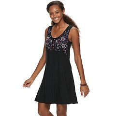 64769699fc7 Juniors  Mudd® Bar-Back Tank Dress. Black Floral Caviar Navy ...