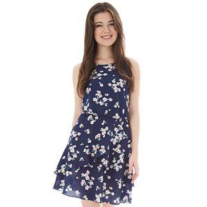 fa4566eee6a Juniors  IZ Byer Cutaway Halter Double Ruffle Dress