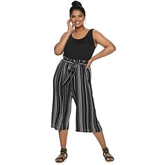 Juniors' Plus Size Lily Rose Paperbag Waist Jumpsuit