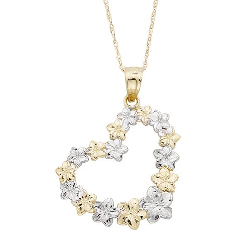 Two Tone 10k Gold Flower Heart Pendant Necklace