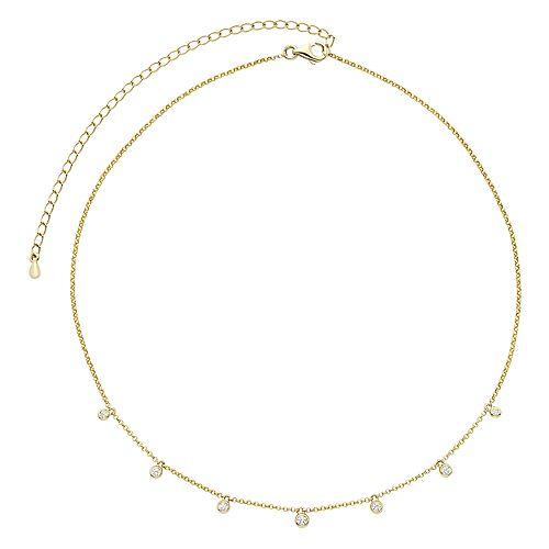 10k Gold 1/6 Carat T.W. Diamond Dangle Choker Necklace