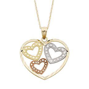 Tri-Tone 10k Gold Heart Pendant Necklace