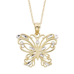 Two Tone 10k Gold Butterfly Pendant Necklace