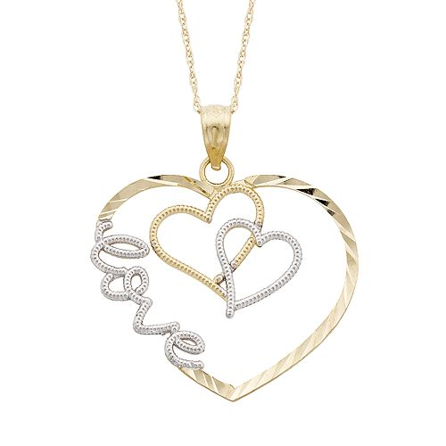 Two Tone 10k Gold Heart Love Pendant Necklace