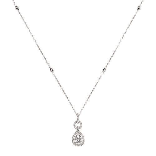 3/8 Carat T.W. Diamond 10k White Gold Teardrop Pendant Necklace