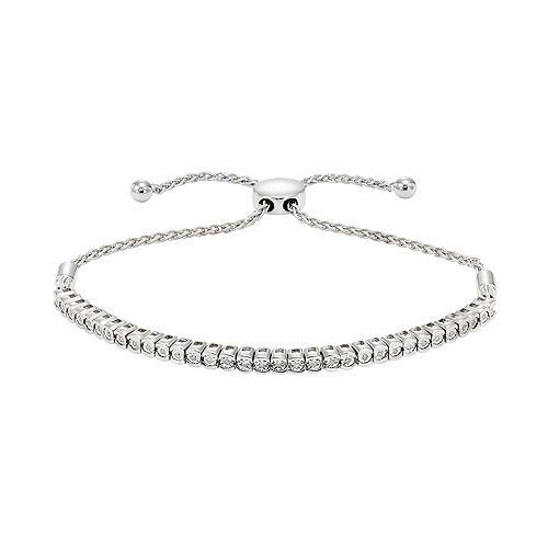 10k White Gold 1/4 Carat T.W. Diamond Adjustable Bracelet