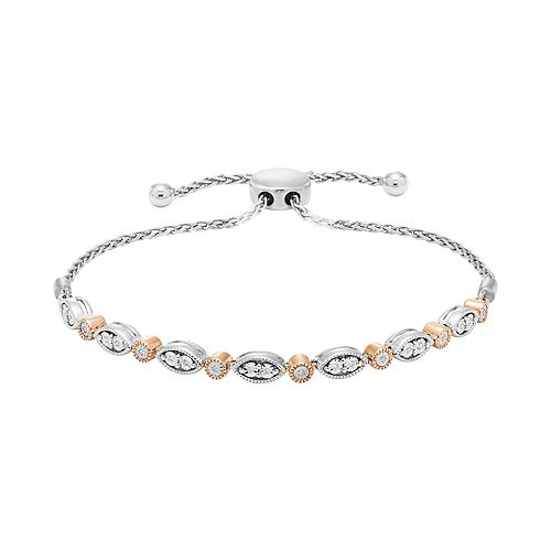 Two Tone Sterling Silver Diamond Accent Adjustable Bracelet