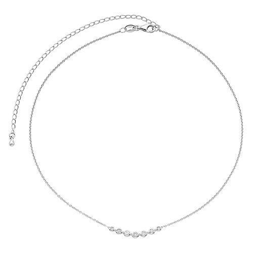 10k White Gold 1/4 Carat T.W. Diamond Bar Choker Necklace