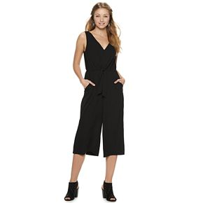 Juniors' Lily Rose Knot Front Crop Jumpsuit