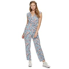 Juniors' Lily Rose Tapered Leg Surplice Jumpsuit