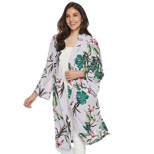 Women's Jennifer Lopez Floral Open-Front Kimono
