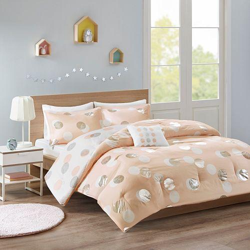 Mi Zone Evelyn Metallic Dot Print Reversible Comforter Set