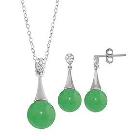 Onyx Cubic Zirconia 2-piece Pendant Necklace & Earring Set