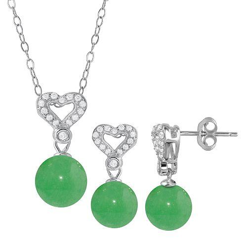 Onyx Cubic Zirconia 2-piece Heart Necklace & Earrings Set
