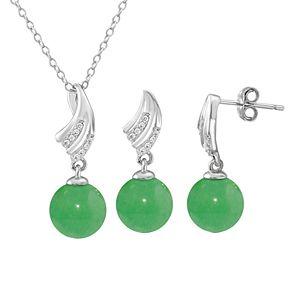 Onyx Cubic Zirconia Leaf 2-piece Earring & Pendant Necklace Set