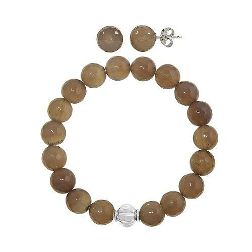 Faceted Agate 2-piece Stud Earrings & Bracelet Set