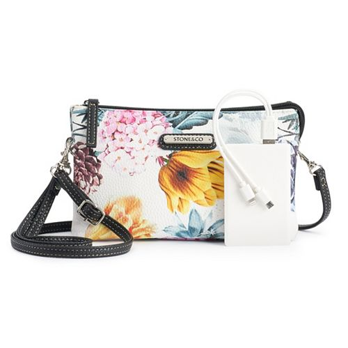 Stone & Co. Floral Phone-Charging Crossbody Bag