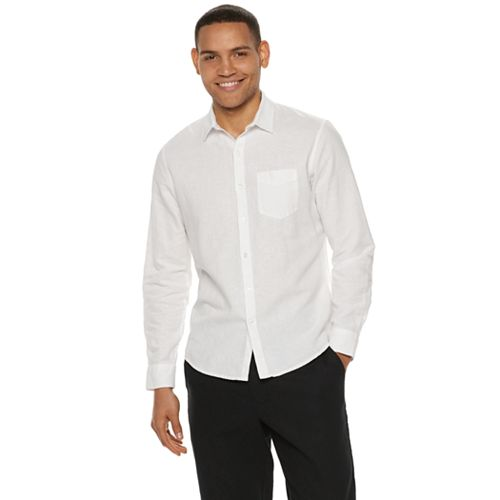 Men's Marc Anthony Regular-Fit Linen-Blend Button Front Shirt