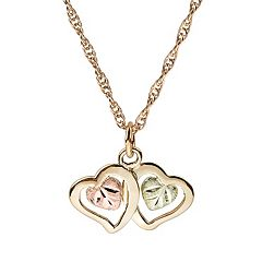Black Hills Gold Tri-Tone Double Heart Pendant Necklace