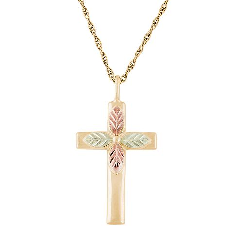Black Hills Gold Tri-Tone Cross Pendant