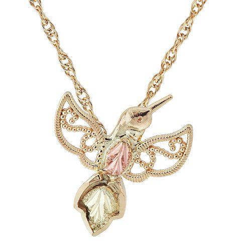Black Hills Gold Tri-Tone Hummingbird Pendant Necklace