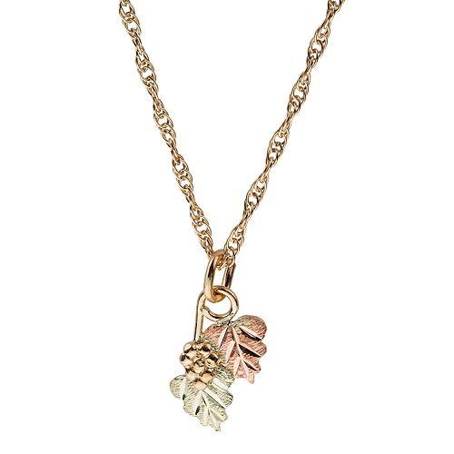 Black Hills Gold Tri-Tone Leaves & Grapes Necklace